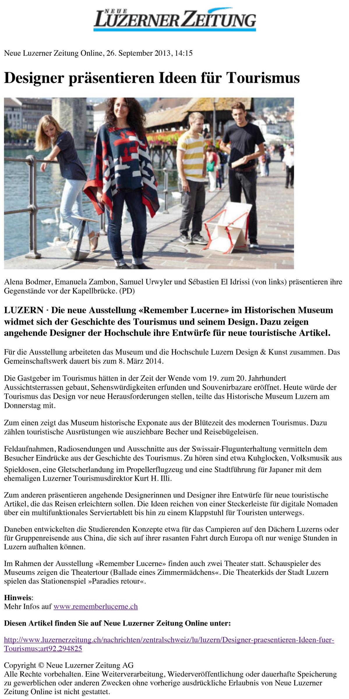 Neue Luzerner Zeitung Online - Designer präsentieren Ideen für
